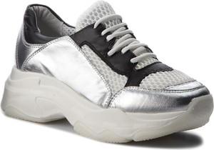 Srebrne buty sportowe Hego`s Milano sznurowane z płaską podeszwą