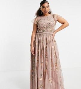 Sukienka Asos z krótkim rękawem maxi z okrągłym dekoltem