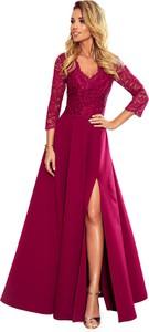Sukienka Ptakmoda.com maxi z dekoltem w kształcie litery v z długim rękawem