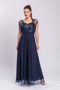 Sukienka Semper z tiulu z dekoltem w kształcie litery v maxi