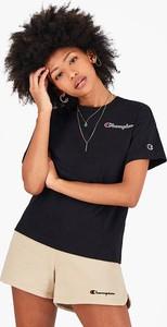 Czarny t-shirt Champion z okrągłym dekoltem z krótkim rękawem z bawełny