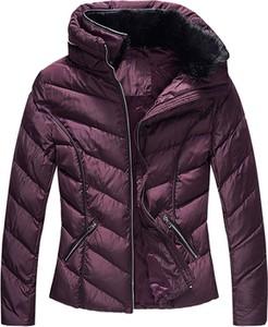 Fioletowa kurtka IVET w stylu casual krótka z kapturem