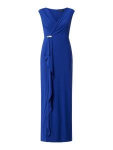 Niebieska sukienka Ralph Lauren z szyfonu z dekoltem w kształcie litery v kopertowa