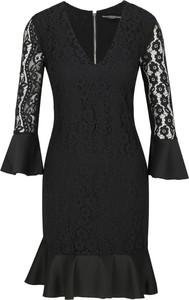 Czarna sukienka Guess Jeans mini z długim rękawem z dekoltem w kształcie litery v