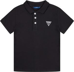 Czarna koszulka dziecięca Guess z krótkim rękawem