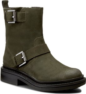 04eb636fe7869 Zielone botki w stylu militarnym, kolekcja wiosna 2019