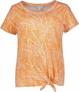 Pomarańczowa bluzka Gina Laura z okrągłym dekoltem w stylu casual