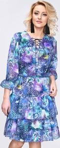 Niebieska sukienka Vitesi z bawełny rozkloszowana mini