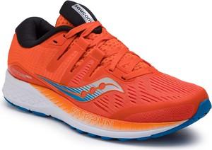 Czerwone buty sportowe Saucony w sportowym stylu sznurowane