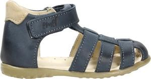 Granatowe buty dziecięce letnie EMEL z nubuku na rzepy