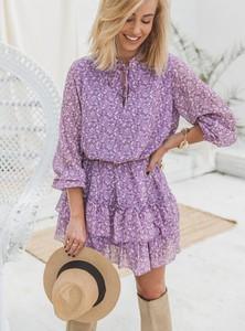 Fioletowa sukienka SELFIEROOM rozkloszowana z długim rękawem w stylu casual