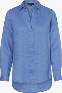Niebieska bluzka Franco Callegari z dekoltem w kształcie litery v z długim rękawem