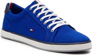 ea686e2892563 Tenisówki TOMMY HILFIGER - Iconic Long Lace Sneaker FM0FM01536 Mazarine  Blue 440