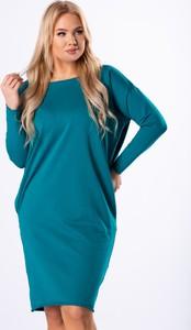 Niebieska sukienka Ptakmoda.com oversize z okrągłym dekoltem