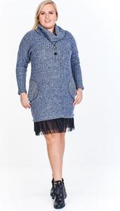 Niebieska sukienka Fokus z długim rękawem w stylu casual z jeansu