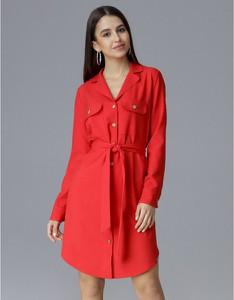 Czerwona sukienka Figl z długim rękawem koszulowa