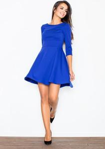 Niebieska sukienka Figl rozkloszowana z długim rękawem