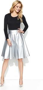 Srebrna spódnica Makadamia w stylu glamour midi