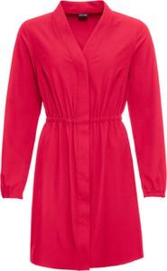 Różowa sukienka bonprix BODYFLIRT szmizjerka z dekoltem w kształcie litery v z długim rękawem