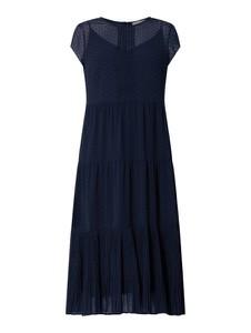 Granatowa sukienka Jake*s Collection rozkloszowana z okrągłym dekoltem z krótkim rękawem