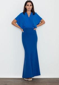 Niebieska sukienka Figl z dekoltem w kształcie litery v z krótkim rękawem