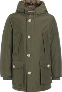 Zielona kurtka dziecięca Woolrich z bawełny