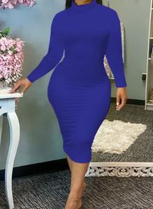 Niebieska sukienka Cikelly z długim rękawem z okrągłym dekoltem ołówkowa