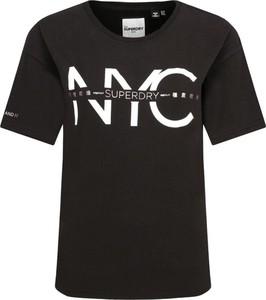 Czarny t-shirt Superdry z okrągłym dekoltem z krótkim rękawem