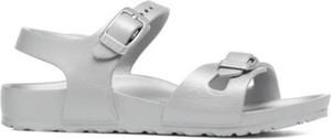 Srebrne buty dziecięce letnie Birkenstock na rzepy dla dziewczynek
