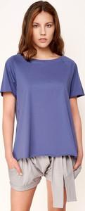 Niebieski t-shirt Byinsomnia z krótkim rękawem z okrągłym dekoltem