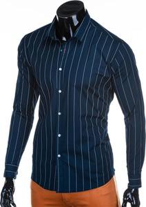 Granatowa koszula Edoti z długim rękawem