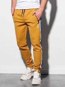 Żółte spodnie sportowe Ombre z dresówki