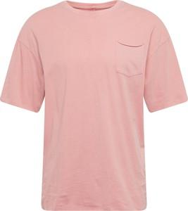Różowy t-shirt Jack & Jones w stylu casual z bawełny