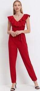 Czerwona sukienka Mohito z krótkim rękawem z dekoltem w kształcie litery v