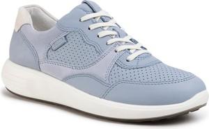 Buty sportowe Ecco z płaską podeszwą sznurowane ze skóry
