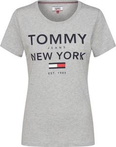 Bluzka Tommy Jeans z okrągłym dekoltem z tkaniny