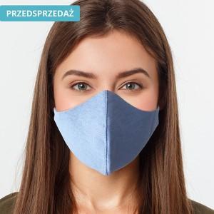 UlubionaMaseczka.pl Lniana damska maseczka ochronna wielorazowa ergonomiczny kształt niebieska Ona
