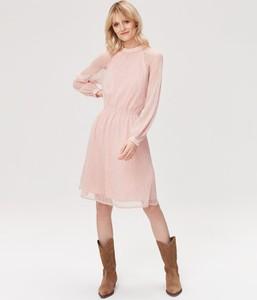 Różowa sukienka FEMESTAGE Eva Minge z długim rękawem z bawełny