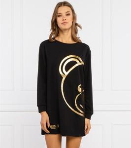 Czarna sukienka Moschino w stylu casual z okrągłym dekoltem prosta