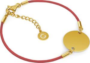 GIORRE SZNURKOWA BRANSOLETKA Z OKRĄGŁĄ BLASZKĄ GRAWER 925 : Kolor pokrycia srebra - Pokrycie Żółtym 24K Złotem, Sznurek - CZERWONY
