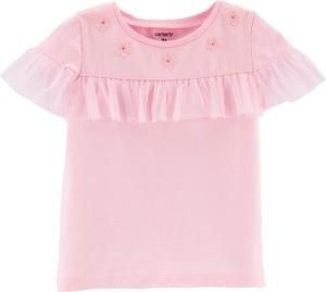 Różowa koszulka dziecięca OshKosh w kwiatki z krótkim rękawem