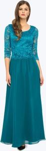 Zielona sukienka L'AF z okrągłym dekoltem maxi