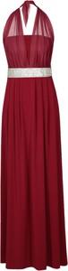 Czerwona sukienka Fokus z dekoltem halter maxi