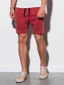 Czerwone spodenki Ombre w sportowym stylu z dresówki