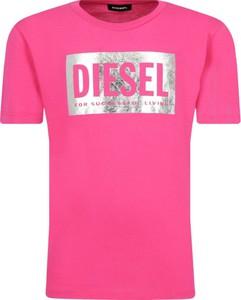 Różowa koszulka dziecięca Diesel z krótkim rękawem