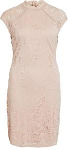 Różowa sukienka Vila z krótkim rękawem midi