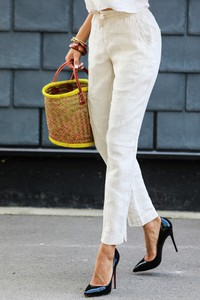 Spodnie IVET w stylu klasycznym z lnu