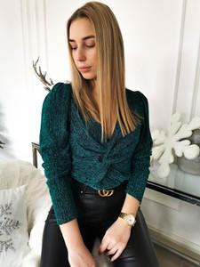 Zielona bluzka Perfe z dekoltem w kształcie litery v z długim rękawem