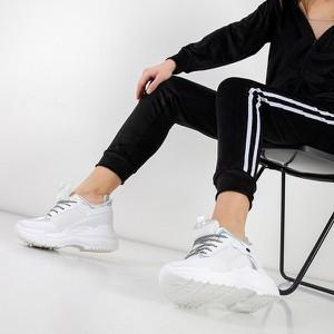 Buty sportowe Royalfashion.pl ze skóry sznurowane z płaską podeszwą
