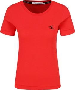 T-shirt Calvin Klein z krótkim rękawem w stylu casual z okrągłym dekoltem